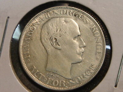 1912 Norway 50 Ore KM 374 Haakon VII XF details - cleaned