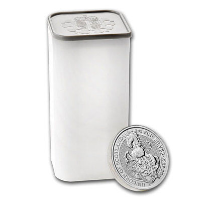 Roll of 10 -2018 Britain 2 oz Silver Queen's Beasts Unicorn of Scotland SKU49477