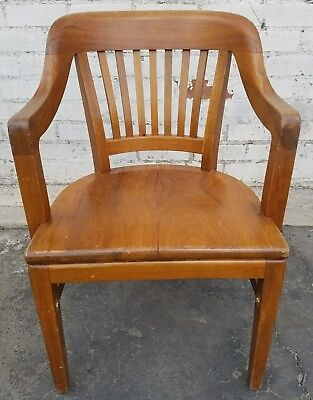 Classic Mid-Century Bankers Captain's Style Wooden W.H. Gunlocke Company Chair
