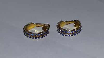 New Old Stock 36 Count Blue Rhinesting Clip On Earrings
