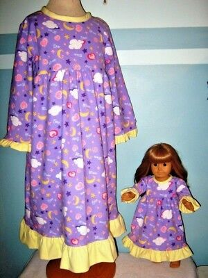 American Girl Size and Girl's Matching Nightgowns Size 6
