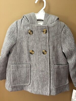 Girls 18 Months Carter's Grey Sparkly Hooded Tweed Coat Jacket NEW NWT $75 Ears