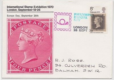 International Stamp Exhibition London 1970 Philympia 4d Carmine Cover