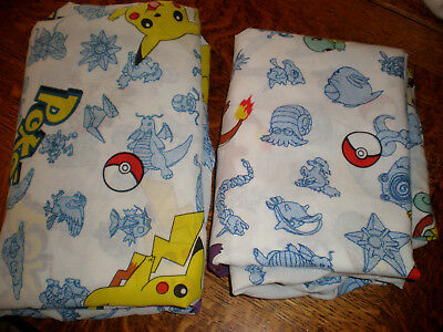2 Pokemon Bed Sheets Linens Twin Size Standard Flat and Fitted Craft Fabric 1998