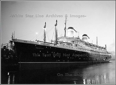 Photo: SS America: Grand Night View At Southampton's Ocean Dock, 1949