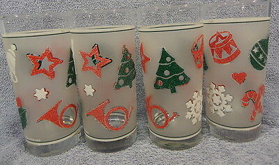 Culvar Christmas Tumblers Lot of 4 Tree Horn Bell Holly