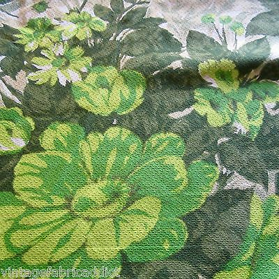 50Cm X 45Cm Classic Green Floral Vintage Cotton Cretonne Curtain Fabric 1950S