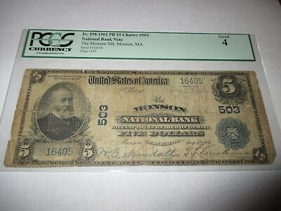 $5 1902 Monson Massachusetts MA National Currency Bank Note Bill Ch #503 PCGS