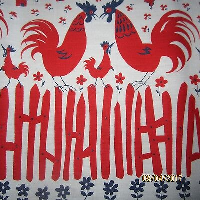 50cm VINTAGE NOVELTY SKIRT  FABRIC RED ROOSTER BORDER PRINT 1950S COTTON RETRO