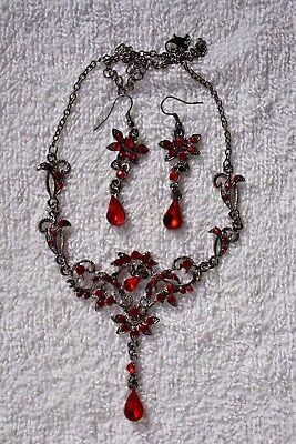 vintage style jewelry set Red flower necklace earrings silver tone