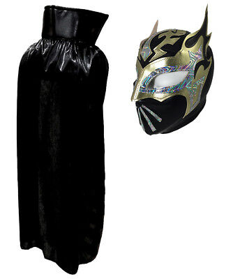 "SIN CARA Lucha Libre Halloween YOUTH JR Costume Lycra Cape 30"" & Mask - Silver"
