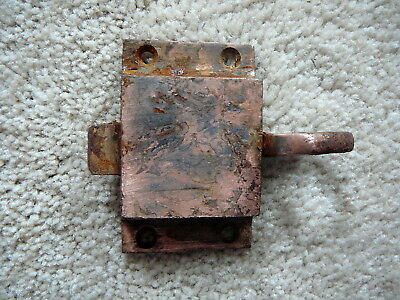 Antique Cast Iron Finger Pull Door Cabinet Latch Copper Finish Salvaged Hardware