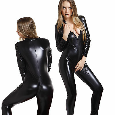 Womens Sexy Wetlook PVC 2 Ways Zip Catsuit Fancy Dress Party Costume US 4-16