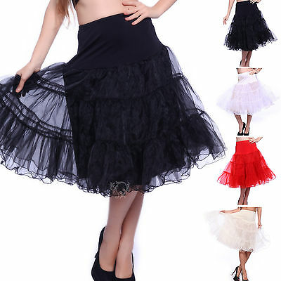 "27"" 25"" Rockabilly Vintage Petticoat 50s Wedding Swing Prom Hoopless Underskirt"