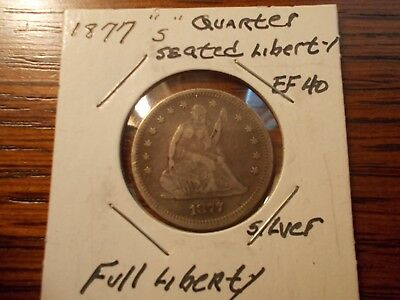 1877 's' Seated Liberty -- 90% Silver--- Great Looking Coin