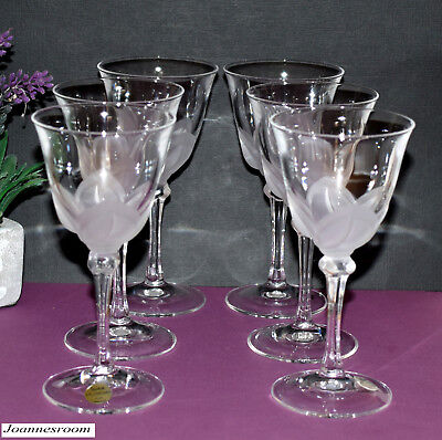 * 6 x J G Durand France FLORENCE Satine Crystal Sherry Glasses