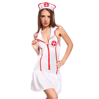 Sexy Zip Up Nurse Uniform Fancy Dress Hen Party Role Play Costume Outfit
