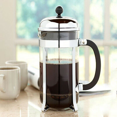 350ml / 3 Cup Stainless Steel Glass Cafetiere French Filter Coffee Press Plunger