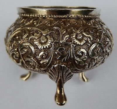 Fine Antique Indo Persian Solid Silver Salt Cellar; Kutch c1890