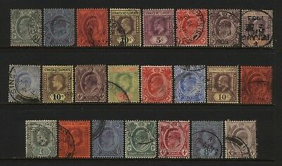 Straits Settlements Collection 23 KEVII Stamps (Unsorted wmks / Perfs) Used