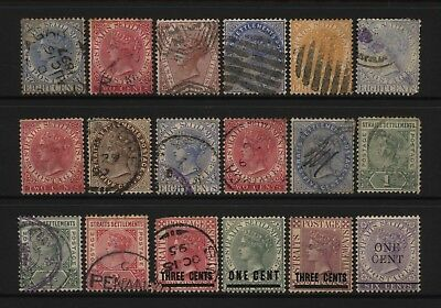 Straits Settlements Collection 18 QV Stamps (Inc Surch) Used / Unused Mounted