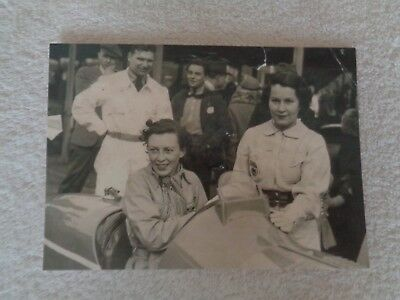 Postcard showing Doreen Evans in an MG R-Type at Brooklands