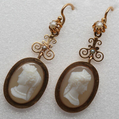 Antique Victorian Earrings Carved Cameos Women 18k Gold Pearls French (#6292)