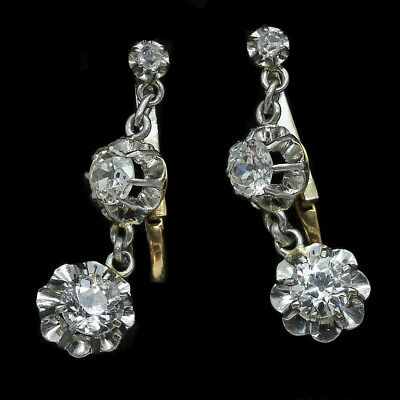 Antique Victorian Edwardian Earrings Dormeuse French 18k Gold Diamonds (#6330)