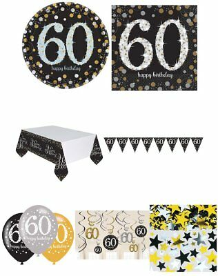 60th Birthday Party Gold Silver & Black Plates Napkins Balloons Banner Confetti
