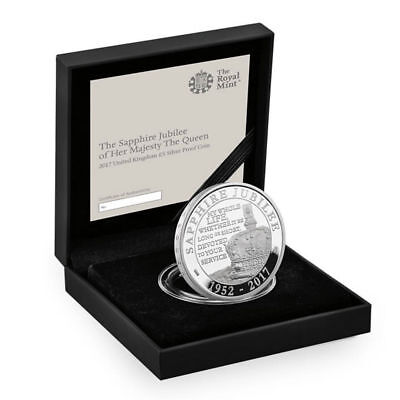 2017 Great Britain Queen Elizabeth II Sapphire Jubilee Silver Proof £5 SKU45924