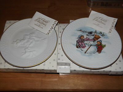 Vintage Lot 2 Avon 1985 & 1986 Christmas Bisque Collector Plates In Boxes