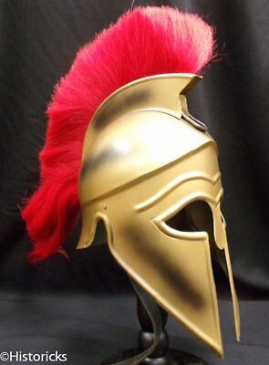 Greek Corinthian 'Gold' Helmet with genuine Red Horse Hair Plume Halloween CHYLP