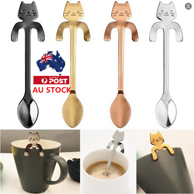 1/2Pcs Cat Spoon Stainless Steel Coffee Tea Spoons Long Handle Drinking Tools AU