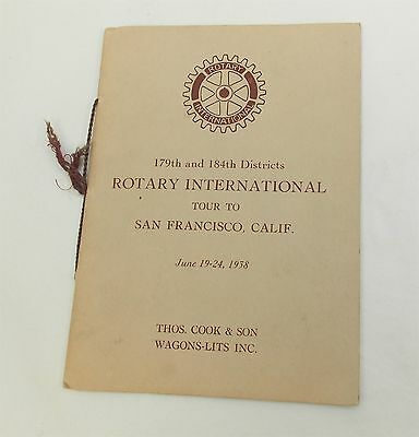 Antique ROTARY CLUB 1938 Convention Booklet Tour to San Francisco 179th 184th