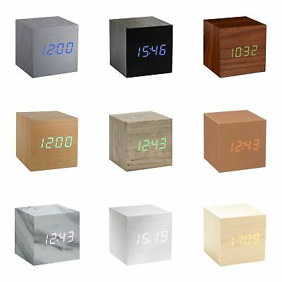 Gingko Cube LED Click Clock Alarm Clock Sound Activated Time, Date & Temperature