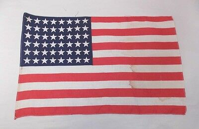 Vintage US FLAG 48 Star Small WWII ERA Antique 11 x 17 Inches (Stains) 0411-6