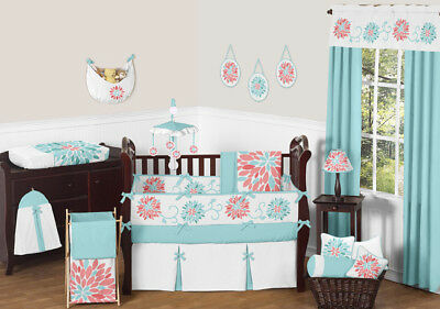 Cute Modern Floral Baby Bedding Turquoise and Coral Girl Crib Set by Sweet Jojo