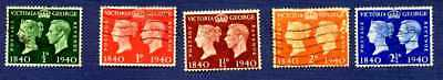 Great Britain 1940-#252/257-Postage Stamp Centenary-Group Of 5-Used