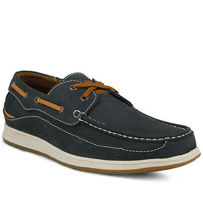 New In Box Spring Step CARLO-NN Men's Navy Nubuck Combo Leather Boat Shoes