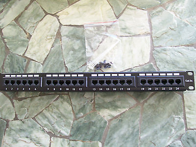 10 pack -CAT5E 24 PORT PATCH PANEL RACK MOUNT- w/Wire Management FREE SHIPPING!