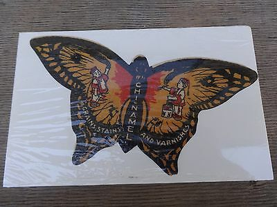 Chi-Namel Grains, Stains & Varnishes Butterfly Decal Unused from Early 1900's