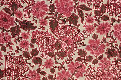 Antique French Chinoiserie pink brown quilt hand stitched c1900 LOVELY