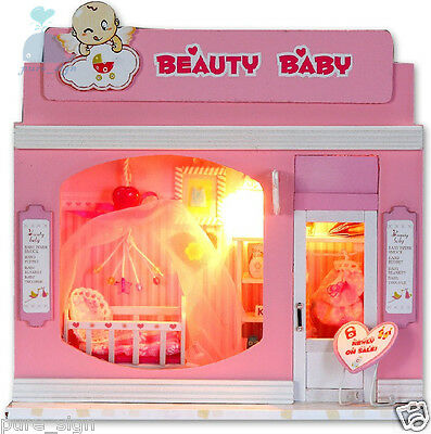 DIY Handcraft Miniature Project Wooden Dolls House Shop Pretty Baby Accessories