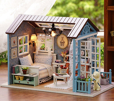 DIY Handcraft Miniature Project My Little Country Lodge Blue Wooden Dolls House