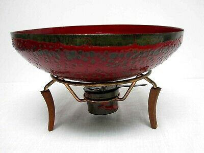 MID CENTURY HANOVA CALIFORNIA RED ENAMEL ON COPPER LARGE BOWL w WARMING STAND