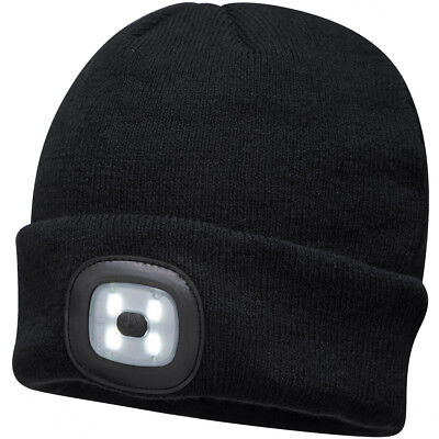 Portwest Beanie Hat with Rechargeable LED Head Light - Black Yellow Blue Orange