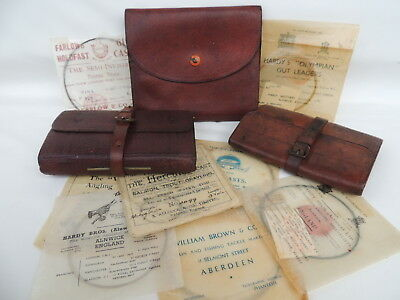 2x Leather Fly Fishing Wallets + Leather Cast Carrier With Hardy , Farlows Etc.