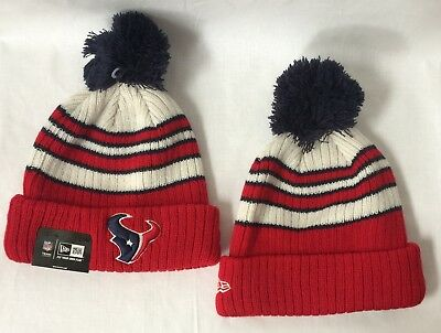 89487bf73d803 Houston Texans New Era Striped Knit Beanie Hat W  Pom Free Shipping Closeout