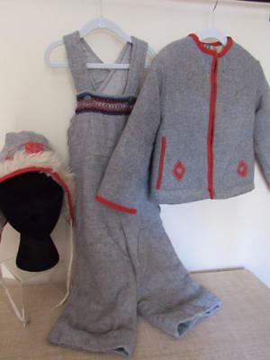 Vintage 1950s Scandinavian Wool Childrens 3pc SNOW SUIT Gray & Red Sherpa Lining