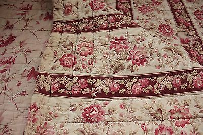 Antique French quilt c 1840 faded floral charming French country Cottage chic